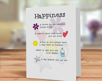 Happiness card, friendship card, happiness kit Card, thinking of you card, friend in need card, Happy post card, just because card, BFF card