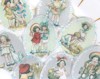 Edible Easter Children Decorated Eggs Wafer Paper Spring Cake Decorations Vintage Child Egg Cupcake Toppers Sherbet Rainbow Cookies Red RTD