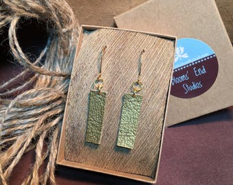 Soft Gold Metallic Leather Tab Earrings