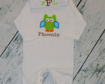 Personalized Owl Infant Sleeper Romper and Hat set  MONOGRAM Coming Home Outfit
