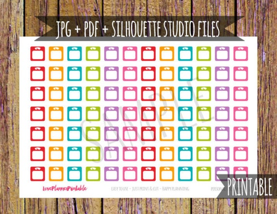Weight Scale Printable Planner Stickers Cut File Stickers