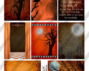 Digital Collage Sheet Halloween Background Images (Sheet No.O138) Instant Download