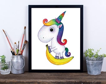 Unicorn Art Print, Nursery Art Print, Printable Wall Art, Digital Download Art, Printable Art, Art Prints, Pencil Art, Rainbow Unicorn