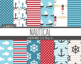 Nautical Digital Paper Pack. Anchor, Ship Wheel, Sailboat, Fish, Lighthouse Patterns. Summer Holydays-Coastal Backgrounds. Digital Scrapbook