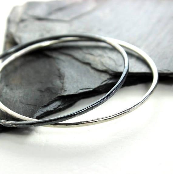 Thick Sterling Silver Bangle Bracelet- Polished, Oxidized Fall Fashion Stacking Bangle