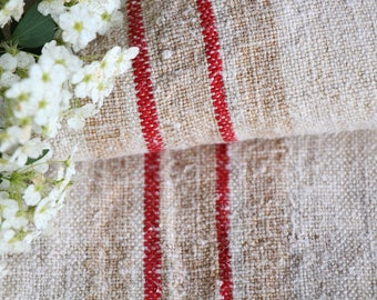 FP 549: antique handloomed,faded STRAWBERRY RED faded Caramel, 45.67 inches long, upholstery, old linen fabric,vintage linen, do it yourself