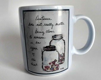 Vintage Coffee Mug Flavia Weedn Long Distance Friend Distant Friendship Jar of Hearts Papel Japan Coffee Lover Going Away Moving Gift Blue