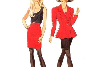 Style Dress Pattern 2205 - Misses' Fitted Flared Jacket, Tank Top and Straight Skirt - SZ 6/8/10/12/14/16