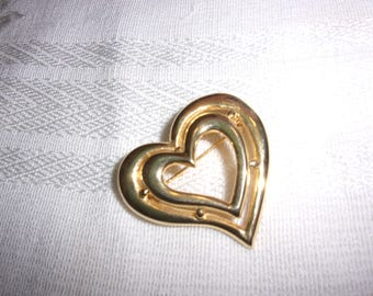 vintage heart brooch, vintage brooch, estate jewelry