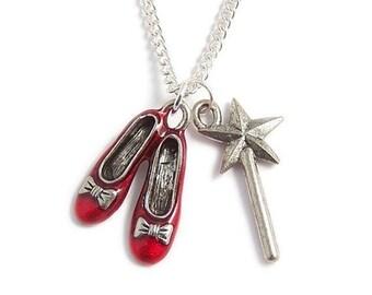 Zauberer von Oz Halskette RUBY Red Slipper und die gute Hexe Fliegenpilz