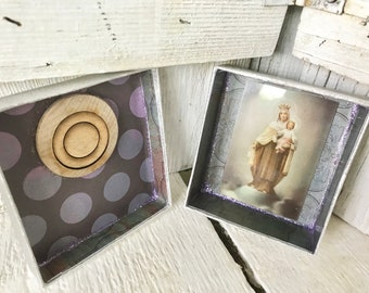 Little prayer box shrine Madonna and child silver purple upcycled embellished/ free shipping US