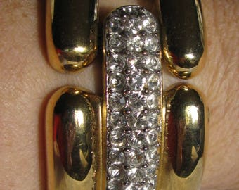 "Retro, Rich, and Spectacular Wide Gold Panel Bracelet, Rhinestone Panel Centers, Unique Design, Numbered with Black Cartouche, 1 & 1/8"" Wide"