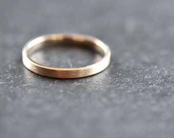 Gold Wedding Band Stackable Ring, 2mm Slim Recycled 10k Yellow Gold Ring Brushed Gold Wedding Ring or Stacking Ring