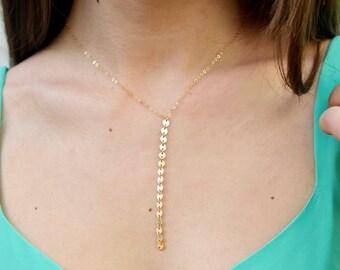 Gold Sequin Y Necklace, Sequin Necklace, Y Lariat Necklace, Gold Coin Necklace, 14kt Gold Fill
