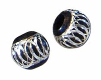 6pc - 12mm JET BLACK Diamond Cut Spiral Circle Design Round Metal Spacer Beads