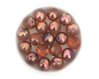 10mm Pink Copper Druk Bead, Smooth Round Bead, Czech Glass Bead, Pressed Bead, Bohemian Bead, Jewelry Making Bead, 12pcs, 1799E