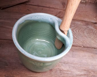 Pottery pate or spread jar with knife in seafoam green home decor gift for her