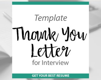 Thank You Letter Template- Add to your Customer Resume- Cover Letter /  Resume Writing Template / Thank You letter Add On