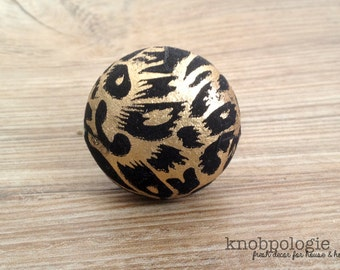"""1.5"""" Gold and Black Animal Inspired Knob - Art Deco Gatsby Faux Animal Print Drawer Pull - Round Black Velvet Knob with Painted Gold"""
