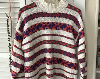 multicolor sweater, vintage multicolor sweater, vintage sweater