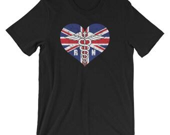 UK Registered Nurse Flag T-Shirt, British RN Nurse Caduceus Symbol Souvenir Tee Shirt, Caduceus In European Heart Logo Shirt Gift