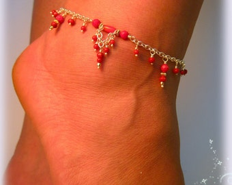Coral Beaded Anklet