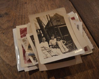 Lot of vintage antique old photographs pictures children kids playing outside flower beds black and white sepia