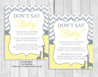 Don't Say Baby! 8x10 Clothes Pin Game or Pacifier Necklace Giraffe Baby Shower Game Yellow & Gray Chevron and Polka Dots - Instant Download
