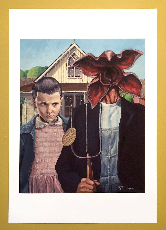 Stranger Things American Gothic Painting Print Matte
