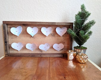 Wooden heart map wall decor
