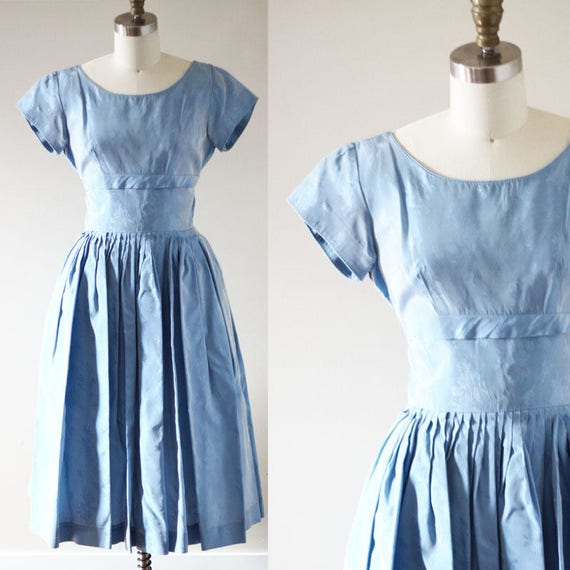 1960s blue cocktail dress // blue floral print dress // vintage dress