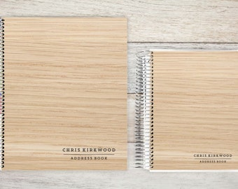 Address Book, Personalized Address Book, Contacts Book, Telephone and Address book, Custom Address Book - light woodgrain