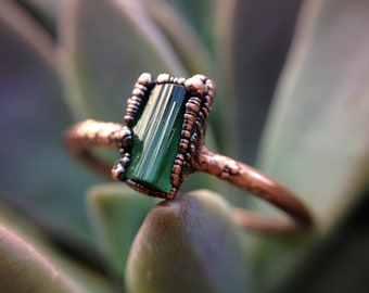 Green Tourmaline   Tourmaline   Raw Tourmaline   Raw Mineral Ring   Copper Ring   Electroformed Ring   Ready-To-Ship