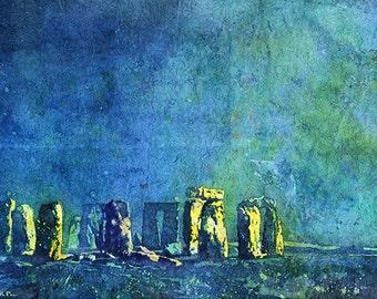 Watercolor painting of Stonehenge ruins moonlit at night- United Kingdom.  Stonehenge painting  watercolor art fine print home decor green