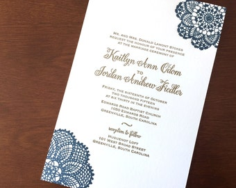 Navy and Antique Gold Letterpress Wedding Invitation with Vintage Lace Doily Design