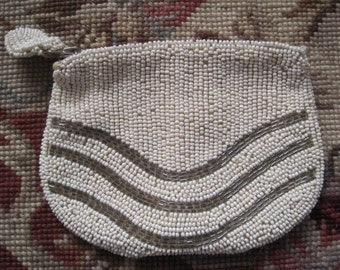 Vintage Petite White and Silver Beaded Dancing Purse with Back Handle Bride Bridal Made in Belgium