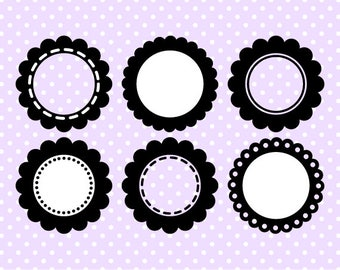 Scalloped Circle Digital Frame Collection - Clipart Frames - Instant Download - Commercial Use