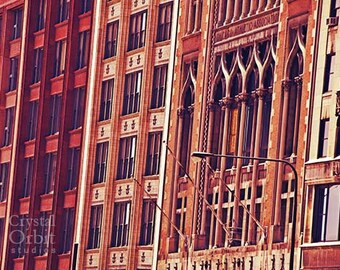Chicago Print, Architecture Print, Chicago Wall Art, Chicago Photography, Warm Colors, Red, Beige, Orange, Home Decor