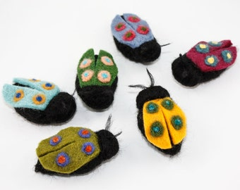 Needle Felted Beetle - Handmade Insect - Fiber Art Decor for Bug Lovers