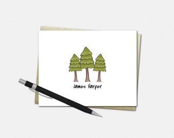Personalized Pine Tree Note Cards - Set of 10 - Folded Note Cards - Pine Tree Stationery for Men - Personalized Pine Tree Stationery