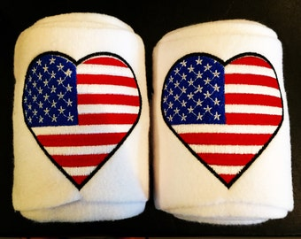 USA Flag Heart Embroidered Polo Wraps