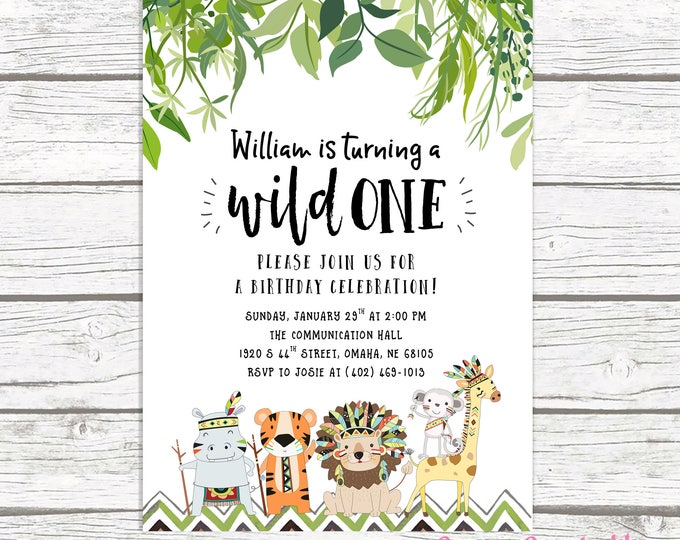 Wild One Birthday Invitation, Safari Birthday Invitation, First 1st Birthday Invitation, Wild One Boy Birthday, Jungle Printable Invite