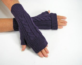 Ladies Merino, Cabled, Convertible Cuff Fingerless Gloves, Arm Warmers, Purple, Seamless Hand Knit, Soft/Cozy/Light Weight, Gift under 35.00