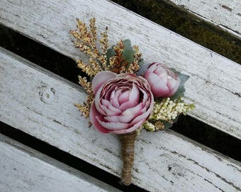 flower boutonniere ,vintage pink boutonniere, rose boutonniere, wedding boutonniere, ring bearer boutonniere, ready to ship