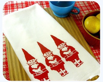 Gnome Tea Towel  home decor gnomes kitchen towels eco friendly gifts under 10 gift for mom screenprint Indie Housewares