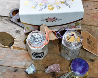 spa box/gift box/bath salts,candles,sage,energy stones,box,soaps