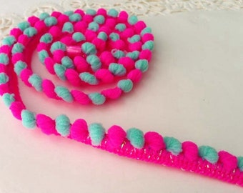 3 yards ribbon pom pom trim dark pink and bluegreen