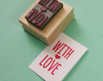 With Love Sentiment Text Rubber Stamp - Love Stamper - Wedding Gift - DIY Wedding - Handmade Wedding Invites - Valentines