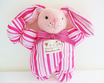 Pink cotton fabric Bunny plushie