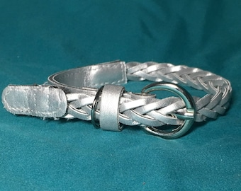 Pupcycled Upcycled Silver XS Braided Dog Collar